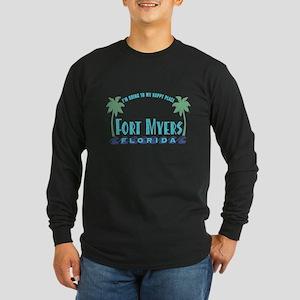 Ft. Myers Happy Place - Long Sleeve Dark T-Shirt