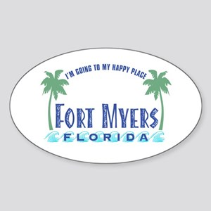 Ft. Myers Happy Place - Oval Sticker