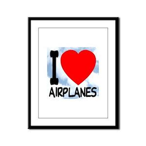 I Love Airplanes Framed Panel Print