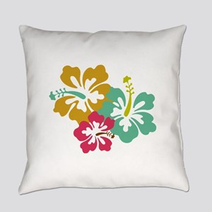 Three Tropical Hibiscus Flowers Everyday Pillow