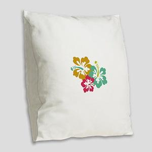Three Tropical Hibiscus Flower Burlap Throw Pillow