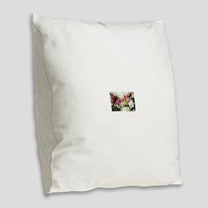 Bouquet Wallpaper Burlap Throw Pillow