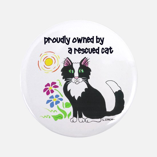 """""""Rescued Cat"""" 3.5"""" Button"""