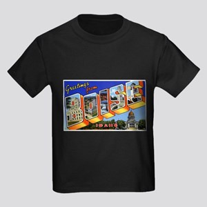 Boise Idaho Greetings Kids Dark T-Shirt