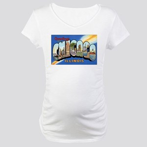 Chicago Illinois Greetings Maternity T-Shirt