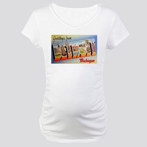 Detroit Michigan Greetings Maternity T-Shirt