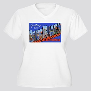 Long Beach California Women's Plus Size V-Neck T-S