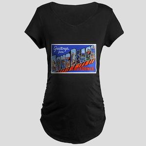 Long Beach California Maternity Dark T-Shirt