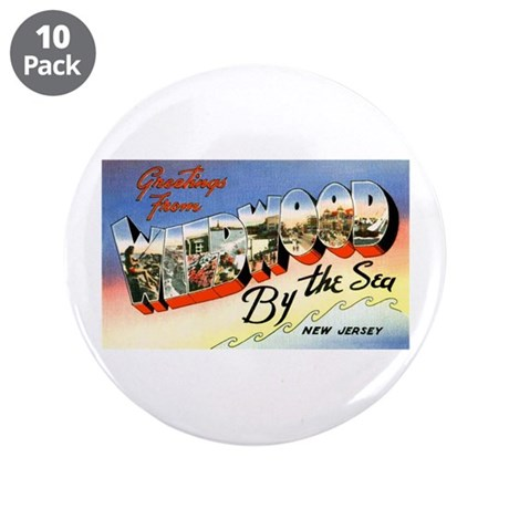 """Wildwood New Jersey Greetings 3.5"""" Button (10"""