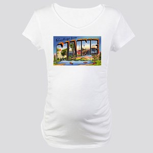 Maine Greetings Maternity T-Shirt