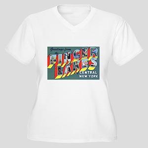Finger Lakes New York Women's Plus Size V-Neck T-S