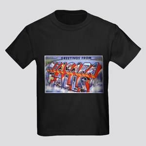 Niagara Falls Greetings Kids Dark T-Shirt