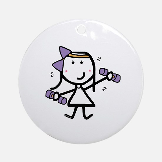 Girl & Exercise Ornament (Round)