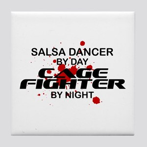 Salsa Dancer Cage Fighter by Night Tile Coaster