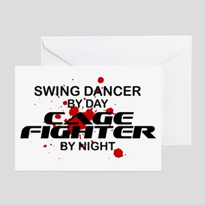 Swing Dancer Cage Fighter by Night Greeting Cards