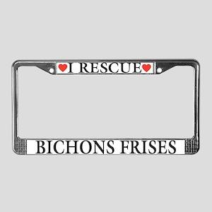 Bichon Frise Rescue License Plate Frame