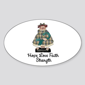 Country Girl Hope TEAL 1 Oval Sticker