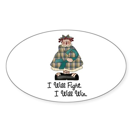 Country Girl Fight Win TEAL 1 Oval Sticker