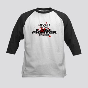 Diver Cage Fighter by Night Kids Baseball Jersey