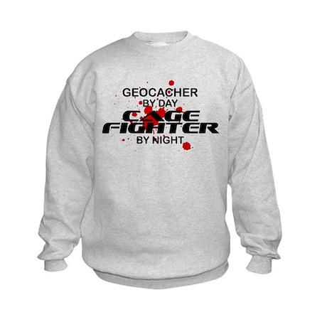 Geocacher Cage Fighter by Night Kids Sweatshirt