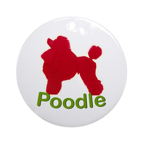 Red Poodle Ornament (Round)