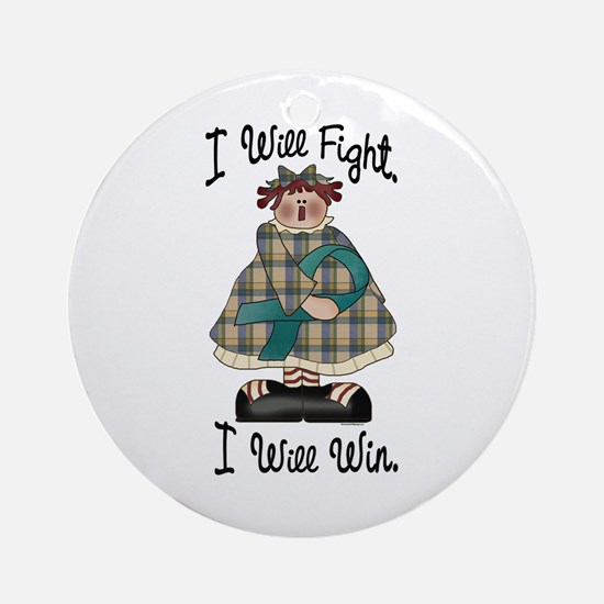 Country Girl Fight Win TEAL 2 Ornament (Round)