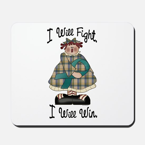 Country Girl Fight Win TEAL 2 Mousepad