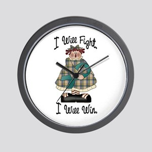 Country Girl Fight Win TEAL 2 Wall Clock