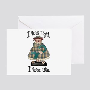 Country Girl Fight Win TEAL 2 Greeting Card