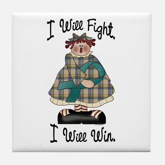 Country Girl Fight Win TEAL 2 Tile Coaster