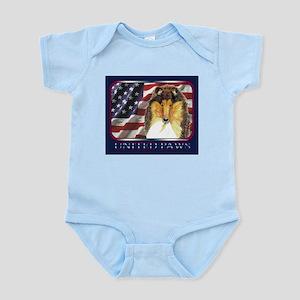 Collie Dog USA Flag Patriotic Infant Creeper