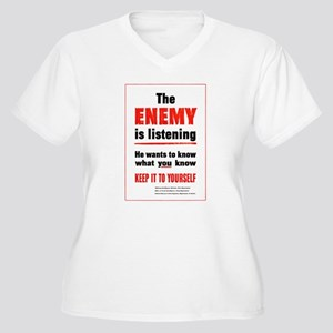 The Enemy is Listening Women's Plus Size V-Neck T-