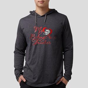 Trucker Heart Mens Hooded Shirt