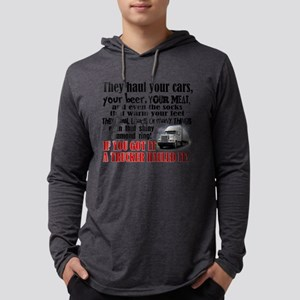 Trucker Hauled It Mens Hooded Shirt