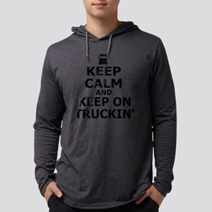 Keep Calm and Keep on Truckin Mens Hooded Shirt