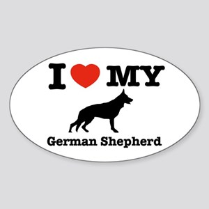 I love my German Shepherd Oval Sticker