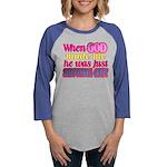 God Showing Off Womens Baseball Tee
