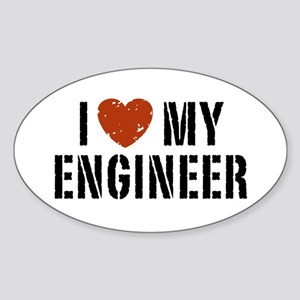 I Love My Engineer Oval Sticker