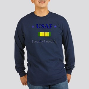 Proudly Served: Air Force Long Sleeve Dark T-Shirt