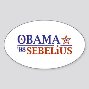 Obama Sebelius 08 Oval Sticker