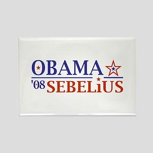 Obama Sebelius 08 Rectangle Magnet