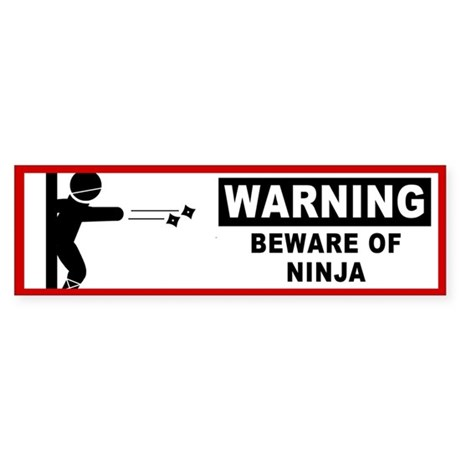 Beware of Ninja Bumper Sticker (10 pk)