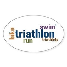 Triathlon Text - Blue Oval Sticker