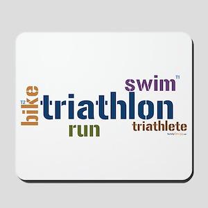 Triathlon Text - Blue Mousepad