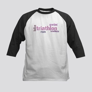 Triathlon Text - Pink Kids Baseball Jersey