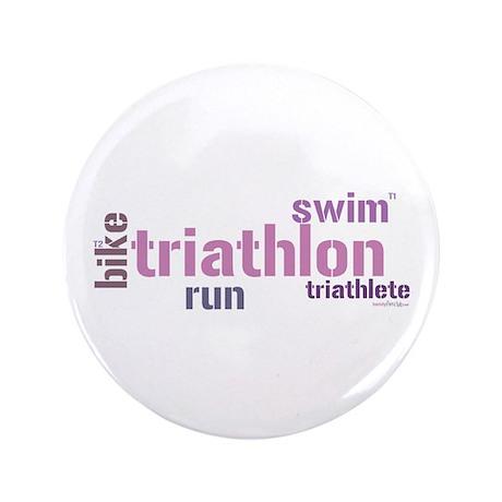 """Triathlon Text - Pink 3.5"""" Button"""