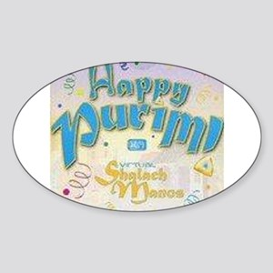 Happy Purim Oval Sticker