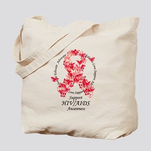 AIDS Butterfly Ribbon Tote Bag