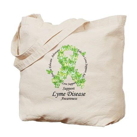 Lyme Disease Butterfly Ribbon Tote Bag