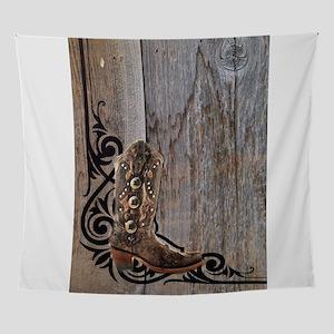 cowboy boots barnwood Wall Tapestry